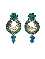 Unicorn Earring Elegant Jali with Kundan and Pearl in Zinc for Women (Turquoise Blue)