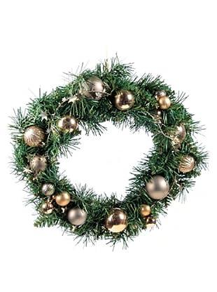 Corona Decorada Navidad Ocre