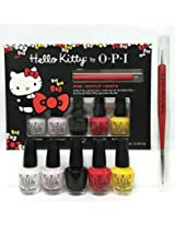 OPI Hello Kitty Nail Lacquer Collection 5 Mini Set, .125 fl. oz + Nail Art Tool