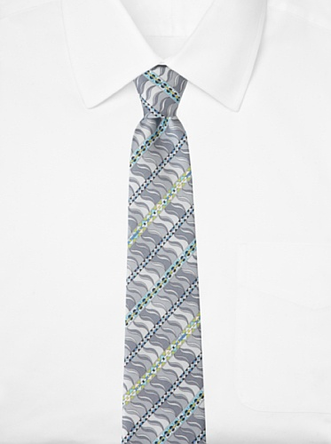 Emilio Pucci Men's Geometric Wave Tie, Grey/Blue