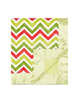 "My Blankee Chevron Minky Multi Watermelon/Lime w/ Minky Dot Apple Green Baby Blanket, 30"" x 35"""
