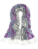 Dahlia Women's 100% Merino Wool Pashmina Scarf - Pink Flower River