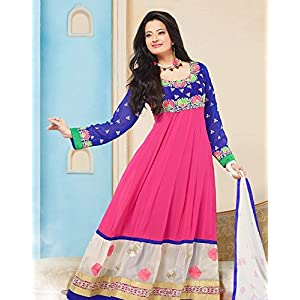 Orchid Semi Stitched Anarkali Suit - Pink