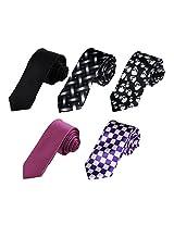DAN3014 Perfect Designer Microfiber - 5 Skinny Ties Set Birthday Skinny Neckties By Dan Smith