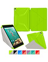 Google Nexus 9 Case, Nexus 9 Case, rooCASE Origami 3D Slim Fit Thin Lightweight Folding Leather PU Folio Cover Stand Auto Wake / Sleep Green Gray