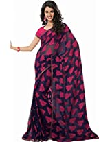 Charu Boutique Chiffon Saree (Css7324 _Black & Pink)
