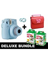 Fujifilm Instax Mini 8 - Blue + 40 Pack Instax Film + Butterfly Red Gm Bag + Blue Selfie Mirror