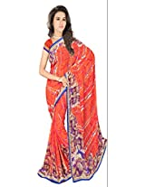 Sonal Trendz Orange Color Printed Saree. Weightless Fabric Printed Saree with Lace & Blouse. Festive Wear.