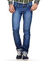 Blue Solid Regular Fit Jeans Yepme