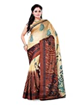 Surat Tex Gold & Brown Crepe Daily Wear beautiful sarees with Blouse Piece