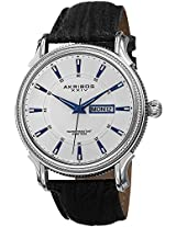 Akribos XXIV Men's AK726WT Essential White & Silver-tone Black Leather Strap Watch