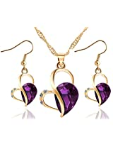 Cilver Fashion Crystal Heart Pendant set with earrings