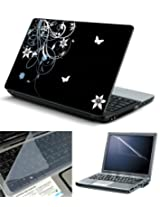 """FineArts 3 in 1 Laptop Skin Pack 15.6"""" - Abstract Floral Black Back 2 With Screen Guard and Keyboad Protector"""