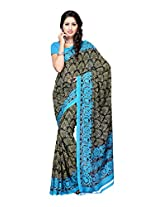Ambaji Black & Sky blue Coloured Renial Printed Saree