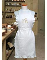 Downton Abbey White & Gold Apron with Embroidered Crest House Kitchen Apron One Size Fits All