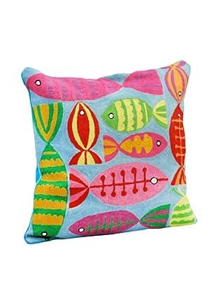 Modelli Creations Fish Crewel Work Pillow, Blue