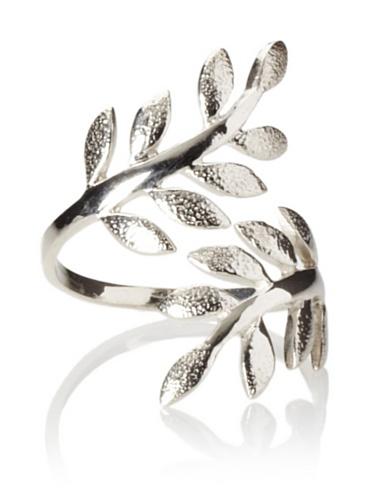 Eddera Olive Branch Ring, Silver