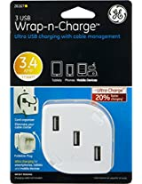 GE Wall Charger for USB Powered Devices - Retail Packaging - White/White
