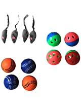 Iconic Pet Fur Mice Plastic Ball and Bouncing Softball Cat Toys, Set of 12