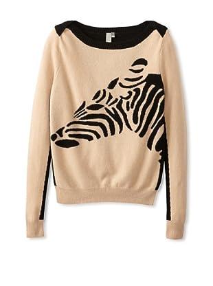 Shae Women's Cashmere Zebra Sweater (Twine Combo)