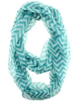 Cotton Cantina Soft Chevron Sheer Infinity Scarf (Teal/White)