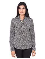 Mallika Women's Micro Fiber Regular Fit Shirt (STMWPR_7XL, Black and White, X-Large)