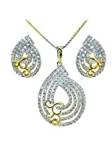WomanWa Dazzling Cubic Zirconia Earrings With Matching Pendant