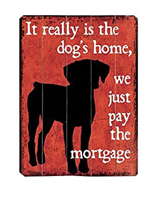 Artehouse The Dog's Home Wood Wall Décor (Red/Black)