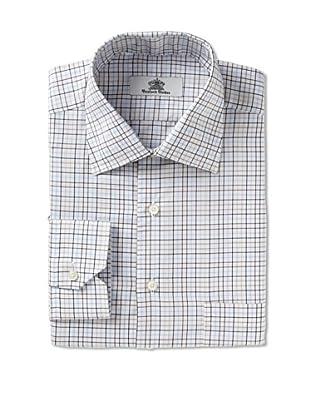 Oxxford Men's Spread Collar Dress Shirt (blue/black check)