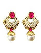 Dhwani Creation Alloy Drop Earrings for Women and Girls (Dark Pink)