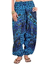 Exotic India Printed Harem Trousers from Pilkhuwa - Color Horizon BlueGarment Size Free Size