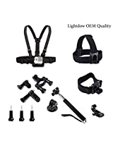 Lightdow OEM Pro Accessory Kit Amateur - Prosumer - Professional Sports Camera Accessories Bundle for Sjcam Sj4000 Sj5000 Sj6000 Gopro Hero 4 Black/silver Hero Hd 3+/3/2/1 Camera (Amateur Bundle)