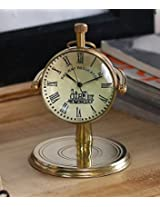 Retro Round Metal World Globe Table Desk Clock with Handle Indian Home Decor - 2.8 Inch