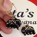 Black and gold elephant shape tiny earrings