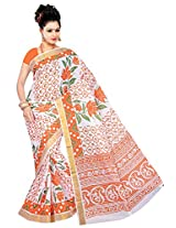 Parichay Women's Kerala Cotton Saree(Orange, Olive)
