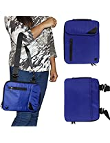 DMG Padwa Lifestyle Shockproof Soft Sleeve Carrying Vertical Messenger Nylon Bag Case with Handle and Shoulder Strap for 10in Tablets/Netbooks/iPad/Android Tablets (Blue)