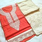 Orange Cotton Dress Material With Dupatta