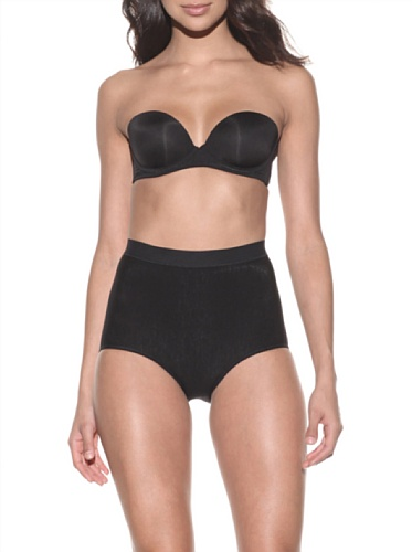 Nearly Nude Women's Smoothing Cotton Brief (Black)