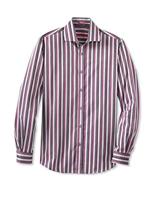 Report Collection Men's Stripe Shirt with Satin Combo (Purple)