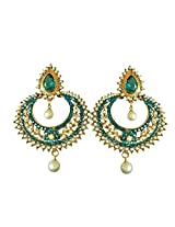 Fancy Blue Coloured Stone, Shell Pearl & Gold Plated Chand Bali Earrings