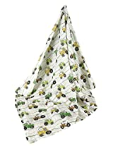 Stephan Baby Cotton Muslin Swaddle Blanket, Down on The Farm Tractor
