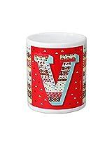 Chumbak Alphabet V Coffee Mug, 300ml