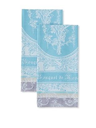 Garnier-Thiebaut Set of 2 Bouquet de Roses Kitchen Towels, Lunaire, 22
