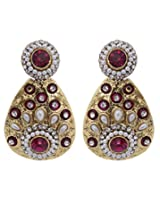 Hyderabadi Abhushan earrings gold with red color stones