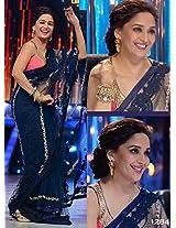 Madhuri Dixit Blue Embroidered Net Bollywood Saree