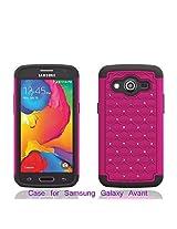 Samsung Galaxy Avant G386 Case - Dual Layer Hybrid Diamond Rhinestone Case for Samsung Galaxy Avant G386 (HOT PINK ON BLACK SKIN DIAMOND HYBRID)