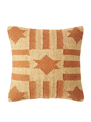 La Boheme Jute/Wool-Blend Flag Cushion, Yellow/Rust, 16