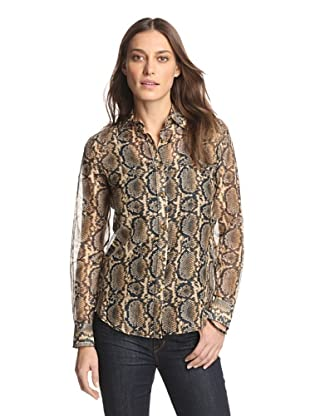 Craig Taylor Women's Back to the Bungalow Snake Print Top (Brown/Black)