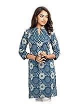 Almas Women's Cotton Regular Fit Kurti (ALM-KUR-100099_S, Navy Blue, Small)