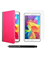 VanGoddy Mary Portfolio Multi Purpose Book Style Slim Flip Cover Case for Samsung Galaxy Tab4 T330/T331 8.0 (Pink) + Matte Screen + Stylus